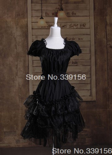 Brand New Black Cotton Short-sleeved Multi-layered Lace Kawaii Sweet Lolita Dress For Girls With High Quality