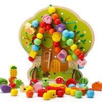 Spedizione gratuita Colorful Multifunzione Albero di Legno Perline Giocattoli Educazione Giocattoli di Legno Animale Perline di Frutta Montessori Giocattolo Per I Bambini
