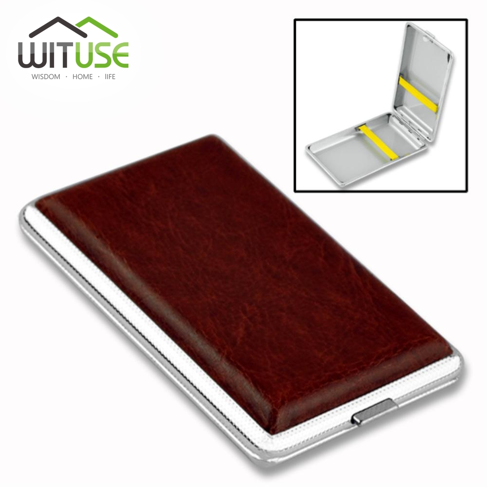 WITUSE PU Cigaret Case Box Kan Hold 10 12 14 16 18 20PCS Detail Ny 2017 Classic Læder Alloy Metal Holder Cigarer EG5798