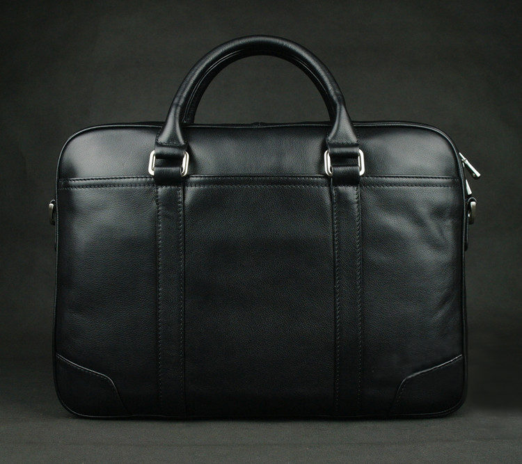 ANAPH Office Work Bags Man Full Grain Natural Leather Black Executive Briefcases For Men, Simple Tote Bag Fit 15 Inch Laptop