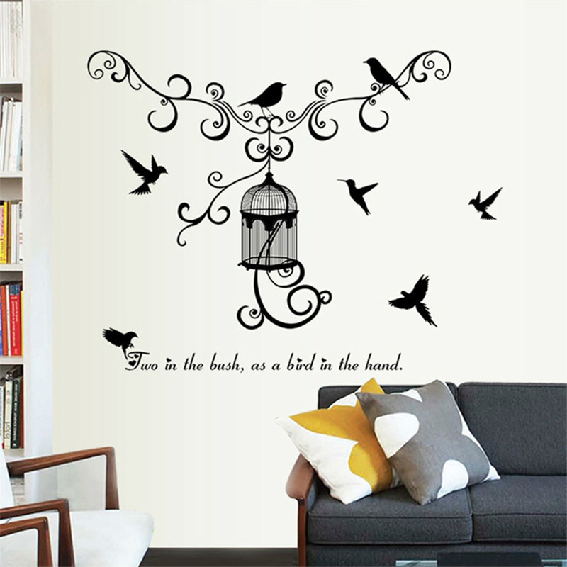 Birds cage silhouette wall stickers home decor living room decal diy art mural wallpaper removable wall stikcer