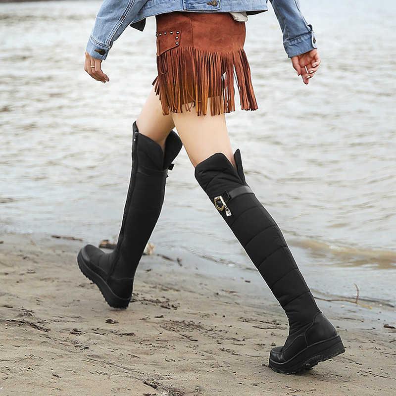 MORAZORA Plus size 35-44 Mới 2020 Chính Hãng Da Ủng Nữ Lông Dày Dặn Ấm Áp Xuống Mùa Đông Giày Nền Tảng trên Đầu Gối Giày