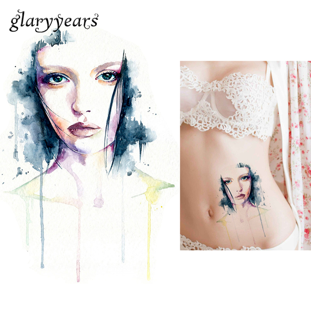 1 Sheet Temporary Tattoo Sticker KM-057 Flower Arm Body Art Waterproof Tatoo Beauty Women Watercolor Paper Decal