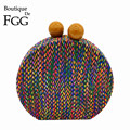Boutique De FGG Multicolored Woven Round Circular Bags For Women 2018 Designer Evening Party Clutch Chain Shoulder Handbag Purse