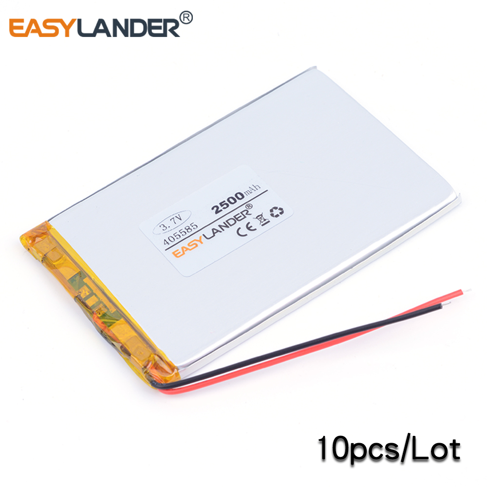10 pièces 405585 2500 mAh 3.7 V batterie Lithium polymère Li ion batterie Rechargeable pour batterie externe pour téléphone tablette pc PAD ordinateur portable