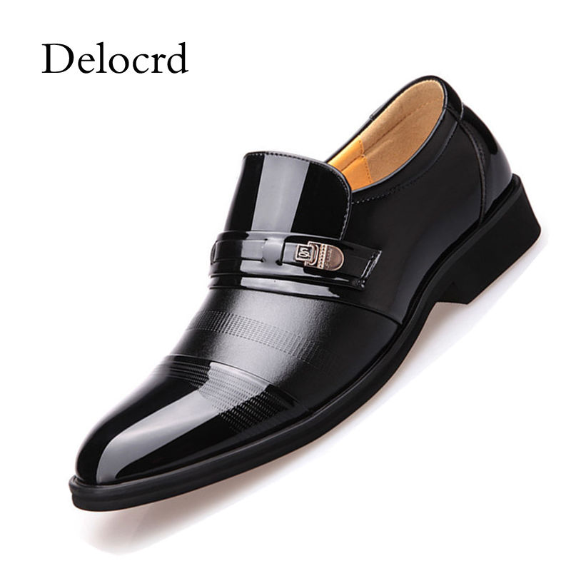 2018 Cool Summer Men Formal Shoes Slip On Black Brown Patent Leather Quality Shoes Breathable Men Shoes For Business Delocrd