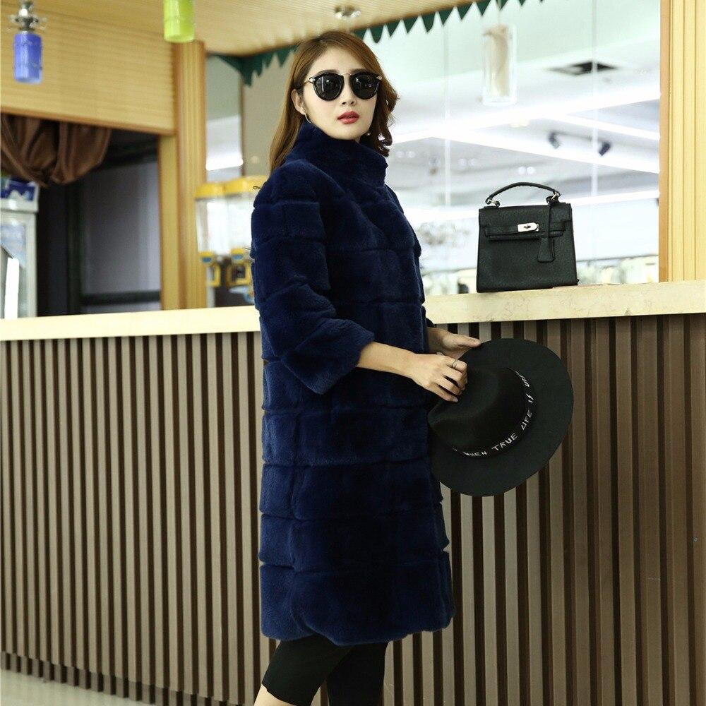 100 black Long Lapin Rex Réel Mode Véritable Fourrure blue De 2018 red Nouvelle Veste Style Grey Femmes Manteau Chaud WwF1wUqx8B