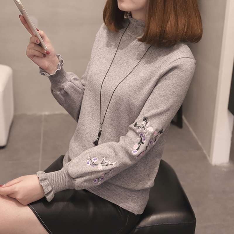 women sweater loose lady spring office lady 2018 turtleneck new ruffles pullovers bottom shirt long sleeves autumn winter in Pullovers from Women 39 s Clothing