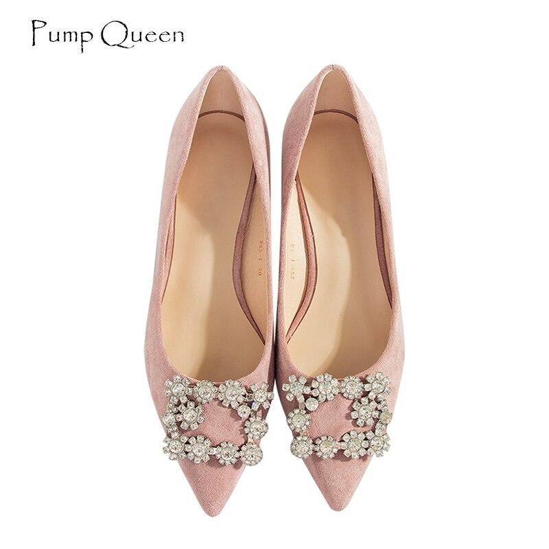 PumpQueen Shoes Woman 2018 New Arrival Women Pumps Med Heels Kitten Heel Rhinestone Black Zapatos Mujer