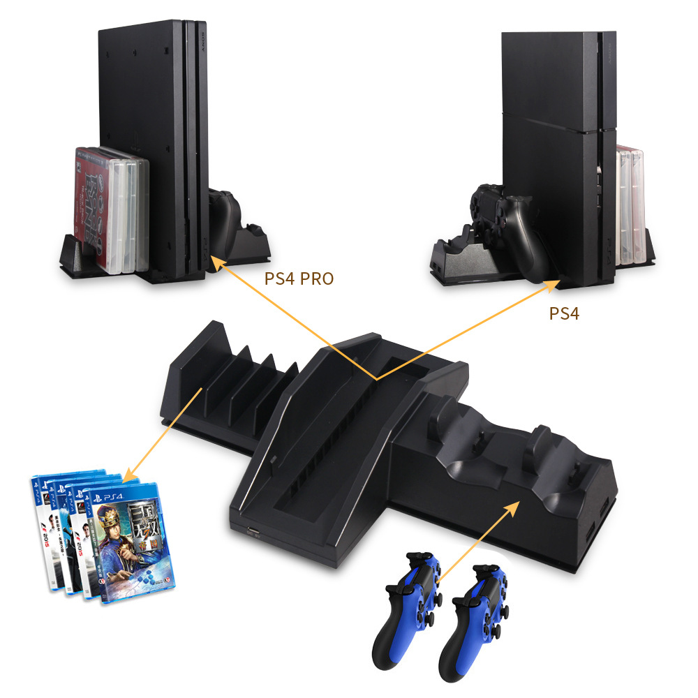 4 In 1 Vertical Stand Holder+Dual Controller Charger Charging Dock  Station+Disk CD Storage For Playstation 4 PS4 Pro PS4 PS 4 In Stands From  Consumer ...