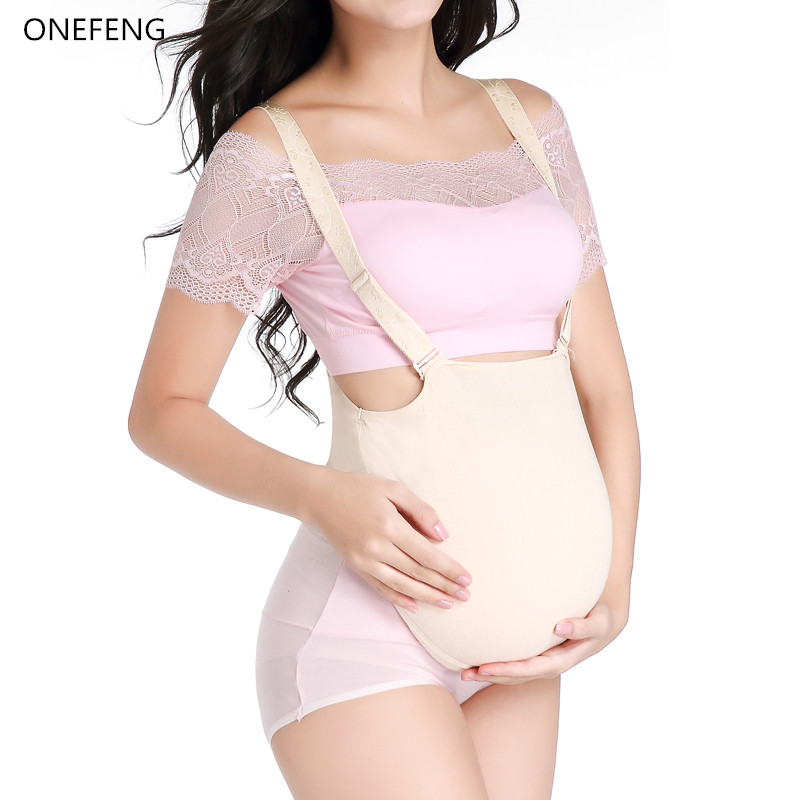 Free Shipping 2000-3000g/pc Silicone Cloth Bag Belly Fake Belly for Cross Dresser Pretty for False Pregnant ONEFENG brown color silicone fake belly artificial belly for simulate pregnancy to adoption baby or surrogacy