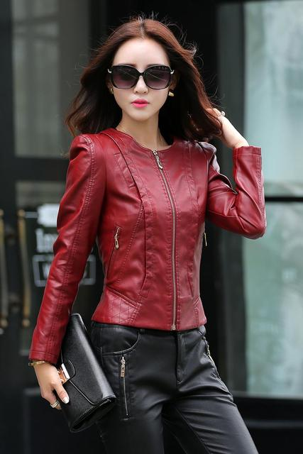 c79533c5a4e9 Jaqueta De Couro Feminina New Fashion Slim Ladies Biker Leather Jacket Women  Zipper Stand Collar Full