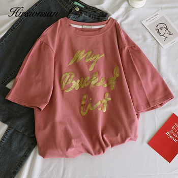 New Gold Letter Printed Tees O-Neck Loose Female