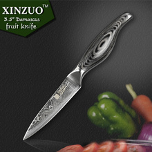 XINZUO 3.5″ paring knife kitchen knife VG10 Damascus steel kitchen knives parer fruit knife with wood steel handle FREE SHIPPING