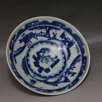 Antique YuanDynasty porcelain bowl,Blue and white character bowl ,hand-painted crafts,best collection & adornment, Free shipping