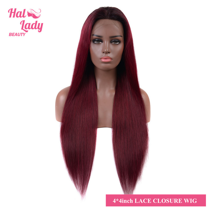 "4*4 Straight Lace Front Human Hair Wigs 24"" 26"" Long 1B 99J 27 RED European Ombre Color Non-remy Hair Wig Halo Lady Beauty(China)"
