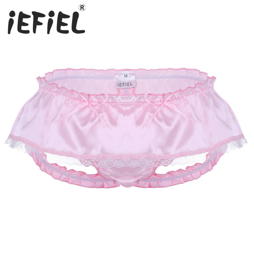 iEFiEL New Arrival Fashion Mens Lingerie Soft Shiny Satin Ruffled 3 Bum Straps Skirted Panties Sissy Lacework Briefs Underwear