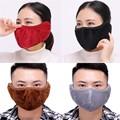 Fashion Unisex Women Man Winter Solid Outdoors Earmuffs Mask Two In One Plush Dustproof Warm Casual #35