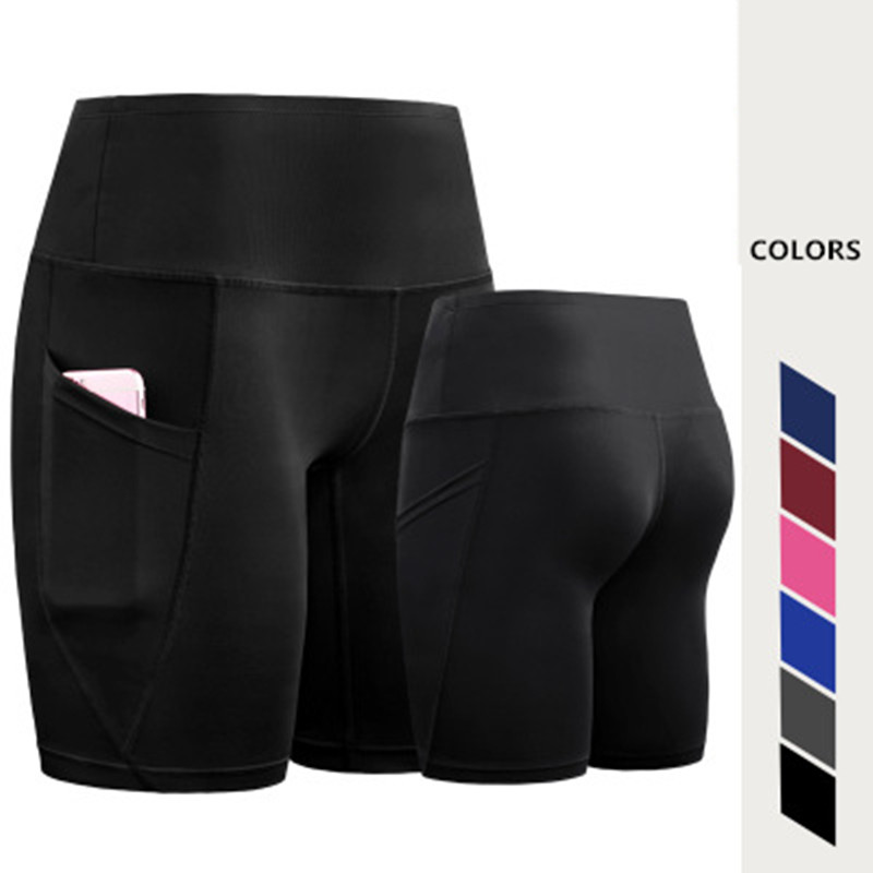 2018 New Sexy Women Yoga Shorts with Pocket High Waist Quick-Dry Sportswear Fitness Running Sports Tights Suit Gym Clothing XXL