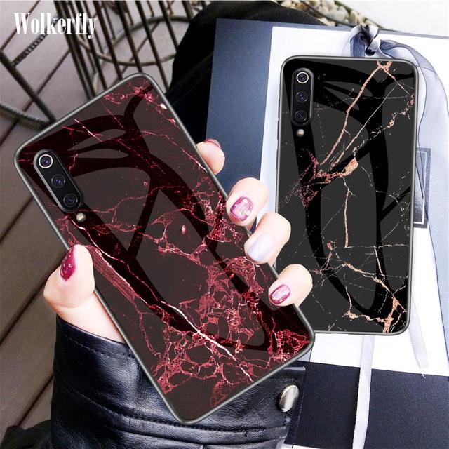 Funda de vidrio templado para Xiaomi mi 9 SE mi 8 Lite A1 A2 Max 3 mi x 3 6X cubierta cubierta de mármol en rojo mi Note 7 5 6 Pro 4X 6A 5 Plus S2