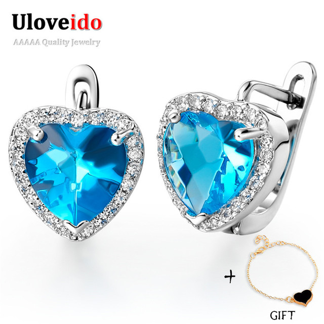 Uloveido Love Heart Blue Cubic Zirconia Earrings Stud Simulated Shire Jewelry For Women Sterling Silver 925