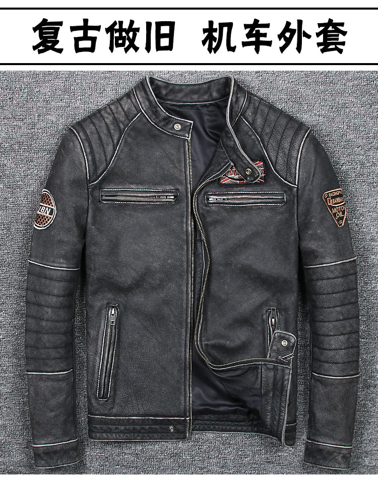 HTB17I.VnrSYBuNjSspfq6AZCpXaw Free shipping plus motor Brand style Vintage men's quality genuine leather Jackets slim 100% natural cowhide jacket.leather coat