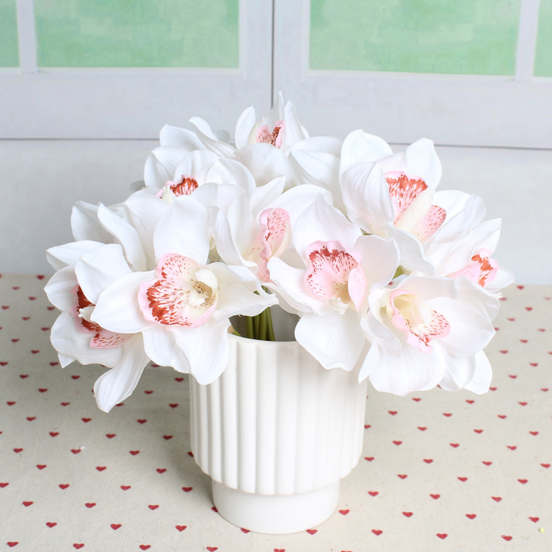 6 Heads Real Touch Cymbidium Short Shoot Table Decoration Artificial Orchid Flower DIY Wedding Bride Hand Flowers Home Decor