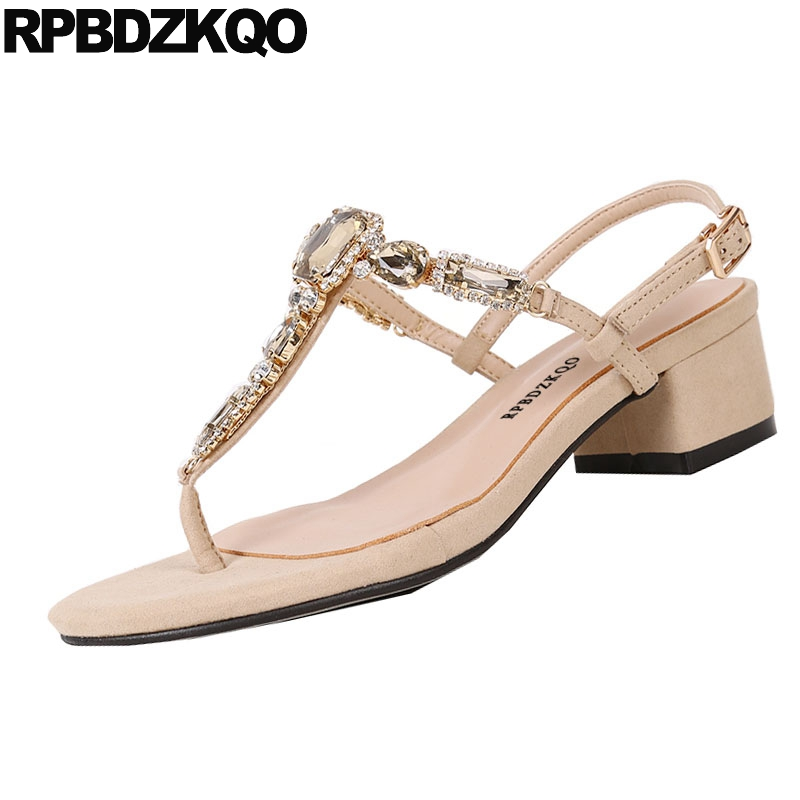T Strap Square Nice Diamond Thong Chunky Jewel Low Heel Women Crystal  Rhinestone Shoes Sandals Leisure Fashion Bohemia Style-in Middle Heels from  Shoes on ... 99643d06ef14
