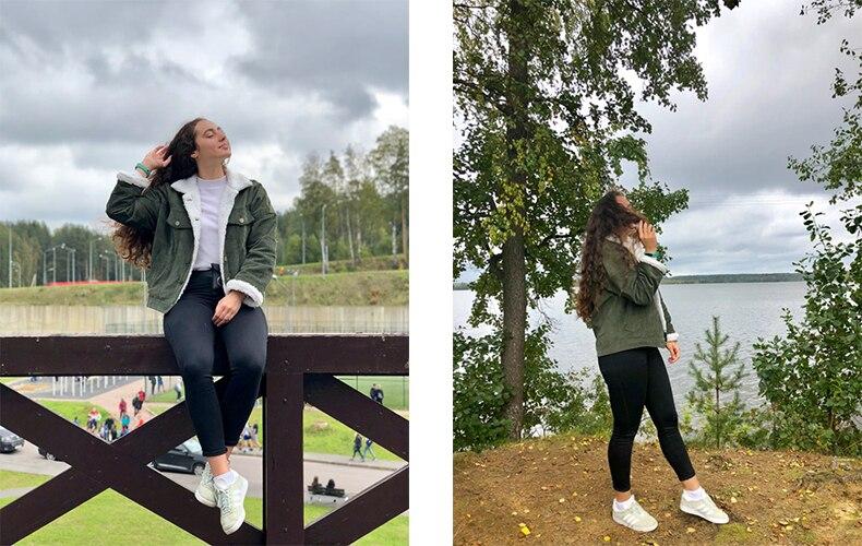 Toyouth Autumn Winter Corduroy Basic Jacket Lambswool Bomber Jacket Women Long Sleeve Jacket Casual Single Breasted Denim Jacket 5