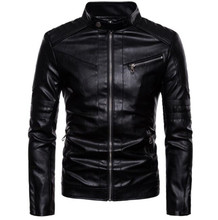 Motorcycle Jacket Men Vintage Retro Casual PU Leather Jacket Punk Windproof Biker Motorcycle Moto Jacket