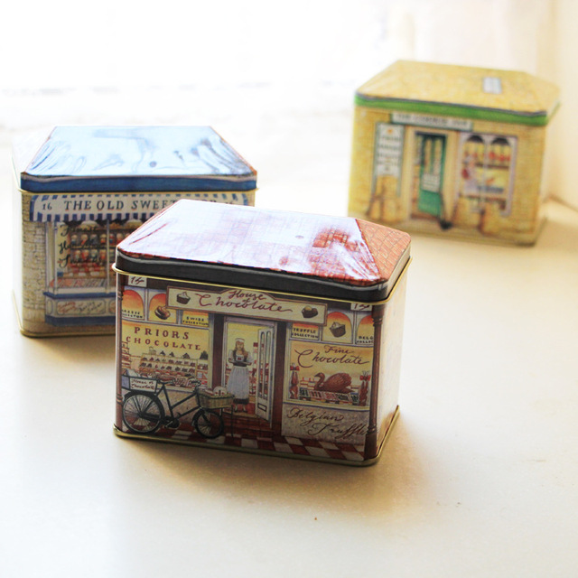 1PC Zakka Retro Storage Box Country Store Tin House Sealed Candy Container Tin Cookie Storage Box & 1PC Zakka Retro Storage Box Country Store Tin House Sealed Candy ...