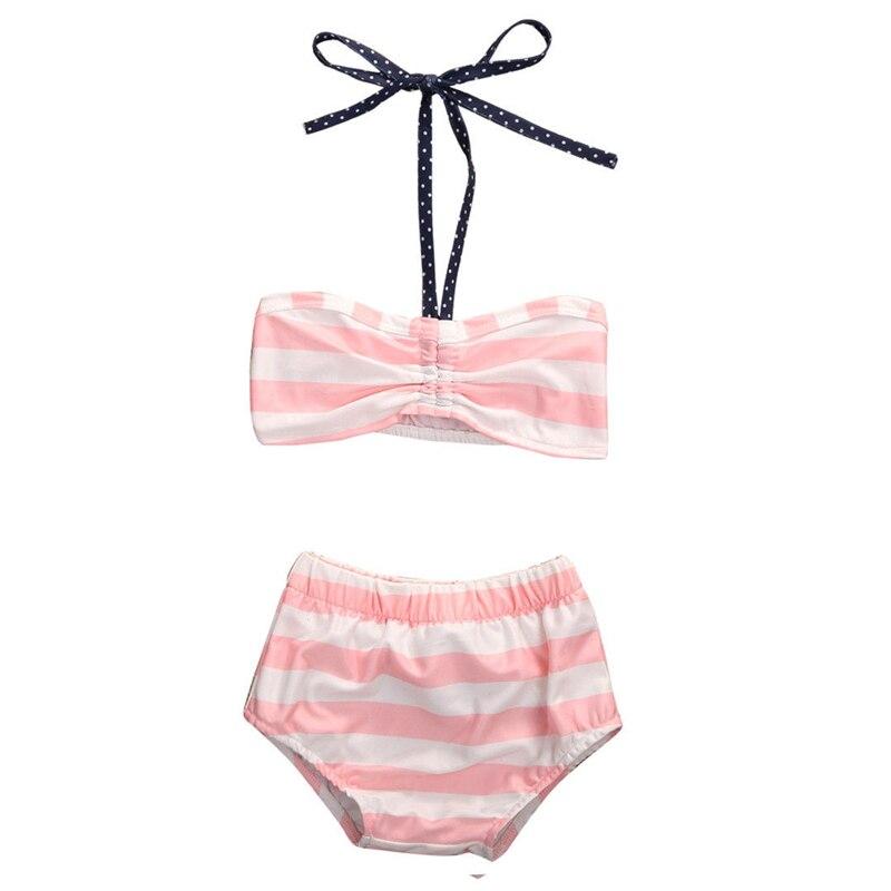 Dziewczynek stroje kąpielowe ubrania zestawy różowy pasiasty - Ubrania dziecięce - Zdjęcie 2