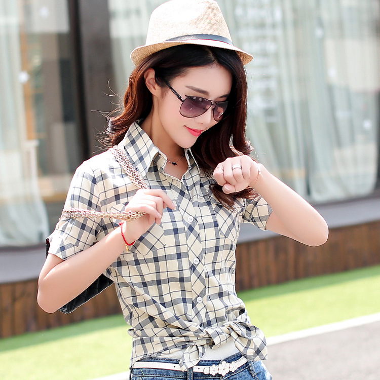 2017 Top Turn-down Collar Blusas Women Tops Summer New Womens Casual Short-sleeved Plaid Shirt Ms. Cotton 14 Colors M-xxl