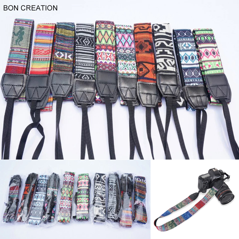 BON CREATION Universal Adjustable Cotton Leather Camera Shoulder Neck Strap Belt for Sony Canon Camera Strap Accessories Part