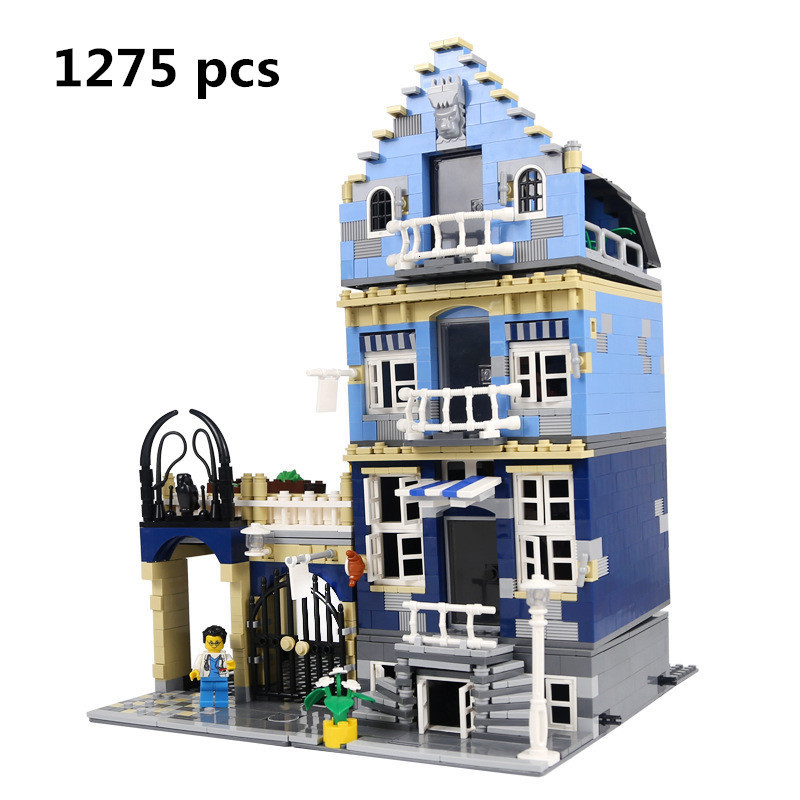 Lepin 15007 Factory City Street European Market Model Building Toys For Kids Block Set Bricks Kits DIY Craft Compatible 10190 15007 1275pcs factory city street european market model building set kits mini blocks compatible with 10190 toys lepin