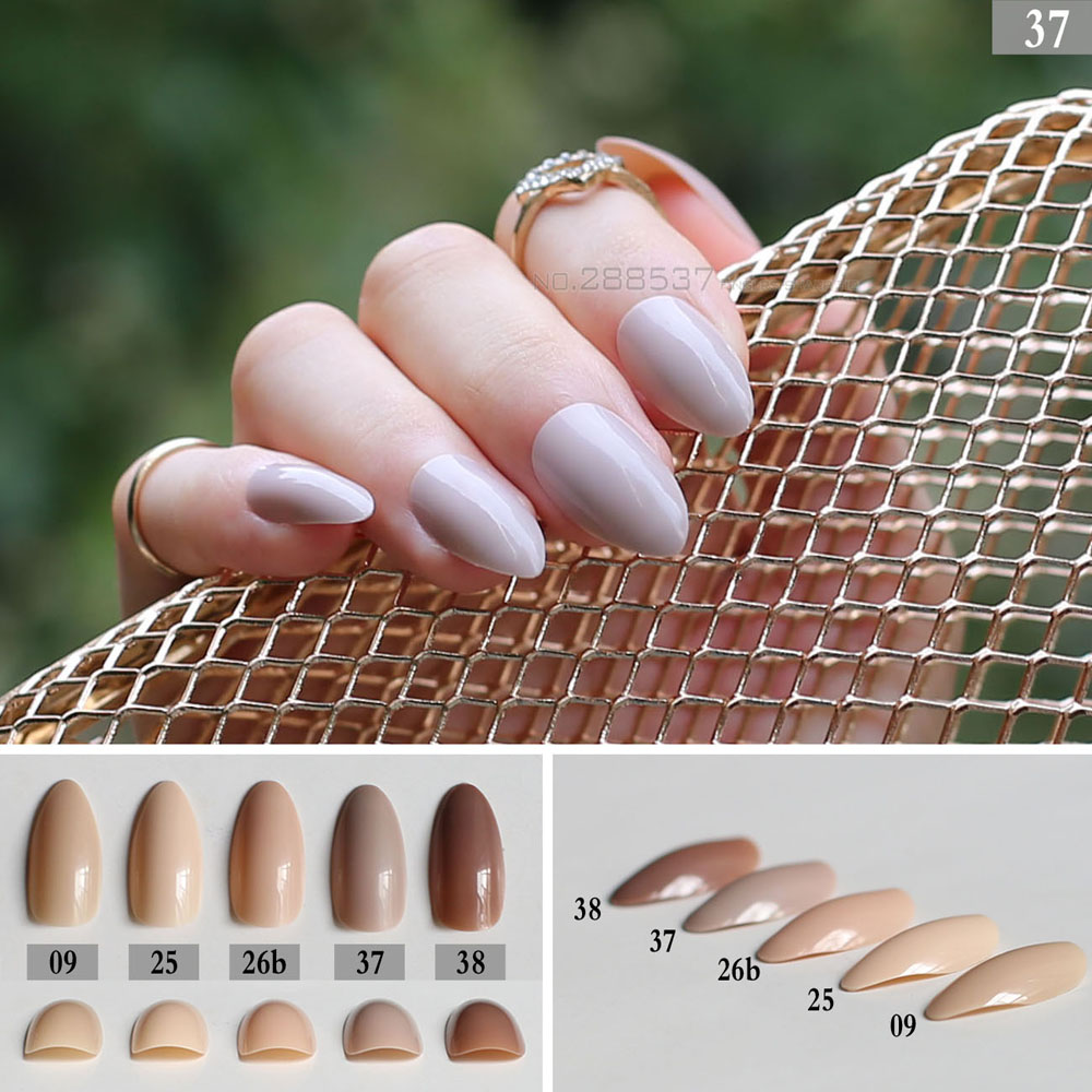 Light Brown fake stiletto nails Press On Nails Pointed Nude color Ladies DIY Manicure Tips Full Wrap Cream Whole 24pcs/set Khaki