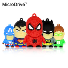 Supereroe Superman/Batman/Capitan America/Spiderman pendrive 4 GB 8 GB 16 GB Usb flash drive conveniente 32 GB 64 GB del fumetto pen drive(China)
