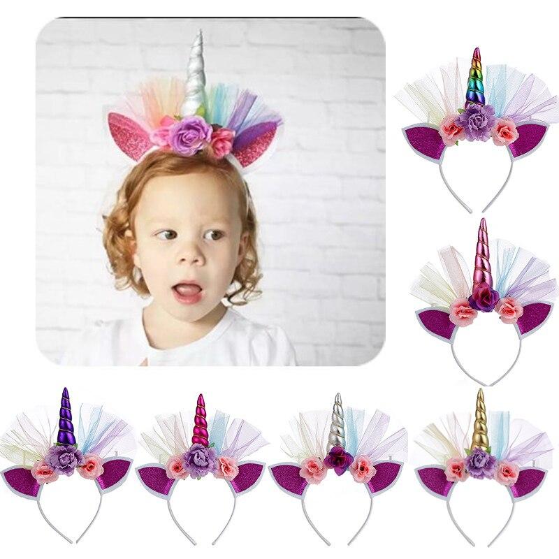 Kids Floral Glitter Unicorn Headband Hair Unicorn Horn Birthday Girls Hairband