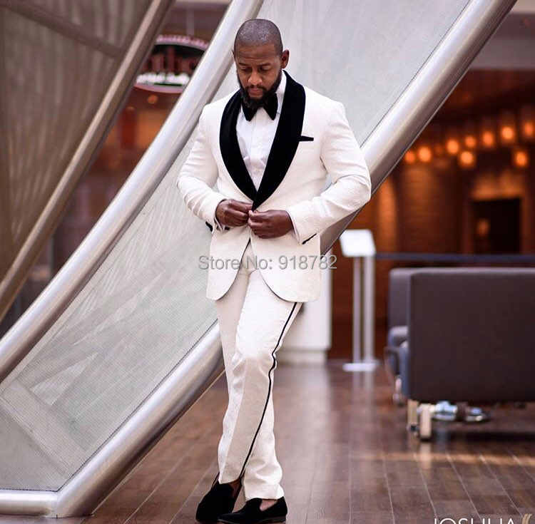 衣装マリアージュオム白スーツパンツプリントジャカード 2 ピースセットスリムフィット男性の結婚式のスーツ 2018 新郎スーツ