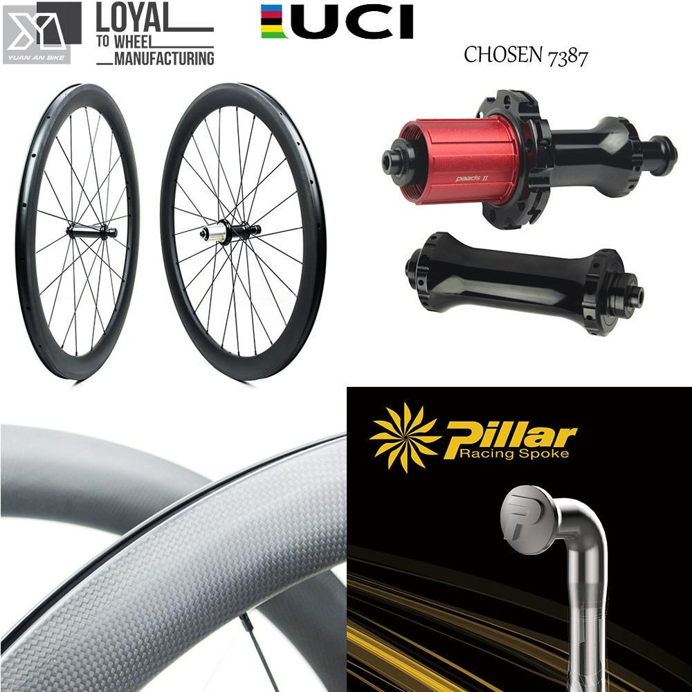 2018 New Road Bike Carbon Wheel 700c Tubeless Clincher Tubular Wheelset Taiwan Chosen 7387 Straight Pull Hub