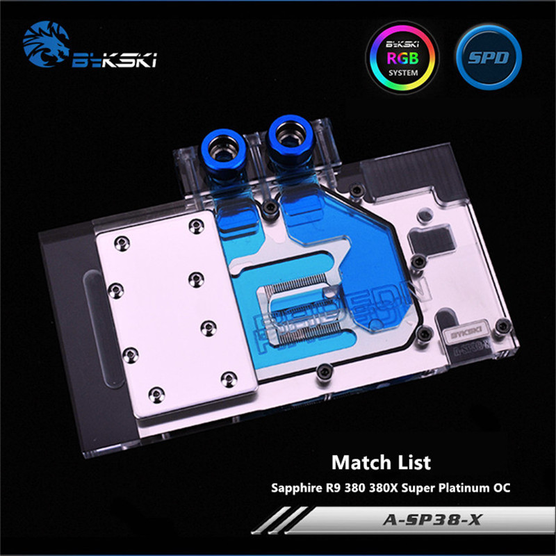Bykski Full Coverage GPU Water Block For Sapphire R9 380 380X Super Platinum OC Graphics Card A-SP38-X bykski a xf37bwpk x full cover graphics card water cooling block for xfx r9 370 370x 380 380x