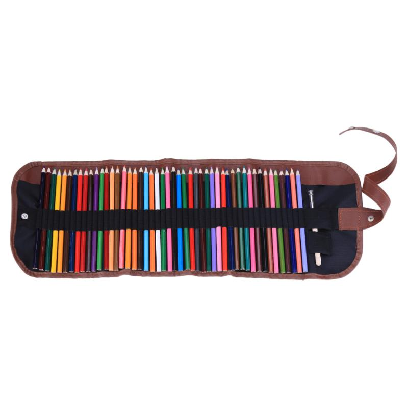 48pcs/roll Portable Colorful Pencil Case School Canvas Pouch Comestic Makeup Brush Case Pen Stationery Drawing Tool Pencil Kit big capacity high quality canvas shark double layers pen pencil holder makeup case bag for school student with combination coded lock