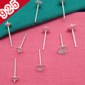 10pcs/lot 925 Sterling Silver Earrings Settings Trays Stud Ear Flat Base Cup Posts Pure Silver Earring Findings