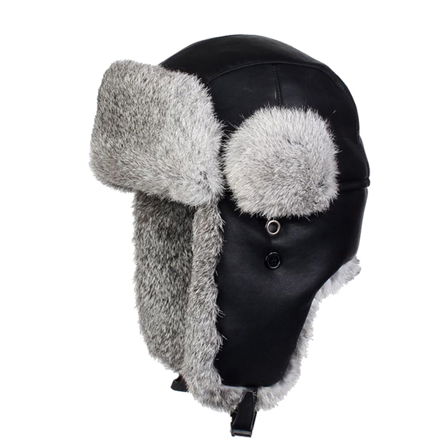 Black Genuine Leather Bomber Hats Real Rabbit Fur Aviator Hat Men s Winter  Warm Earflaps Snow Cap Russian Ushanka Cossack d7c7ef91774