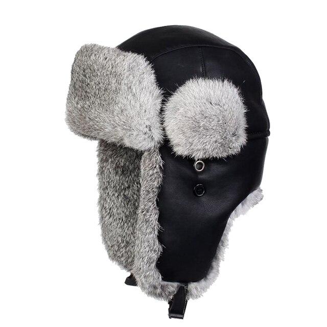 8ad4e3ab7aa4f De cuero genuino negro bombardero sombreros de piel de conejo Real aviador  sombrero de los hombres