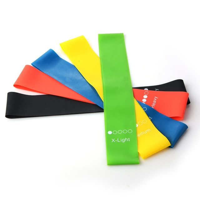 5 Colors Yoga Resistance Bands 0.35mm-1.1mm Rubber Belt Loop Elastic Bands Indoor Outdoor Fitness Pilates Sport Training Workout