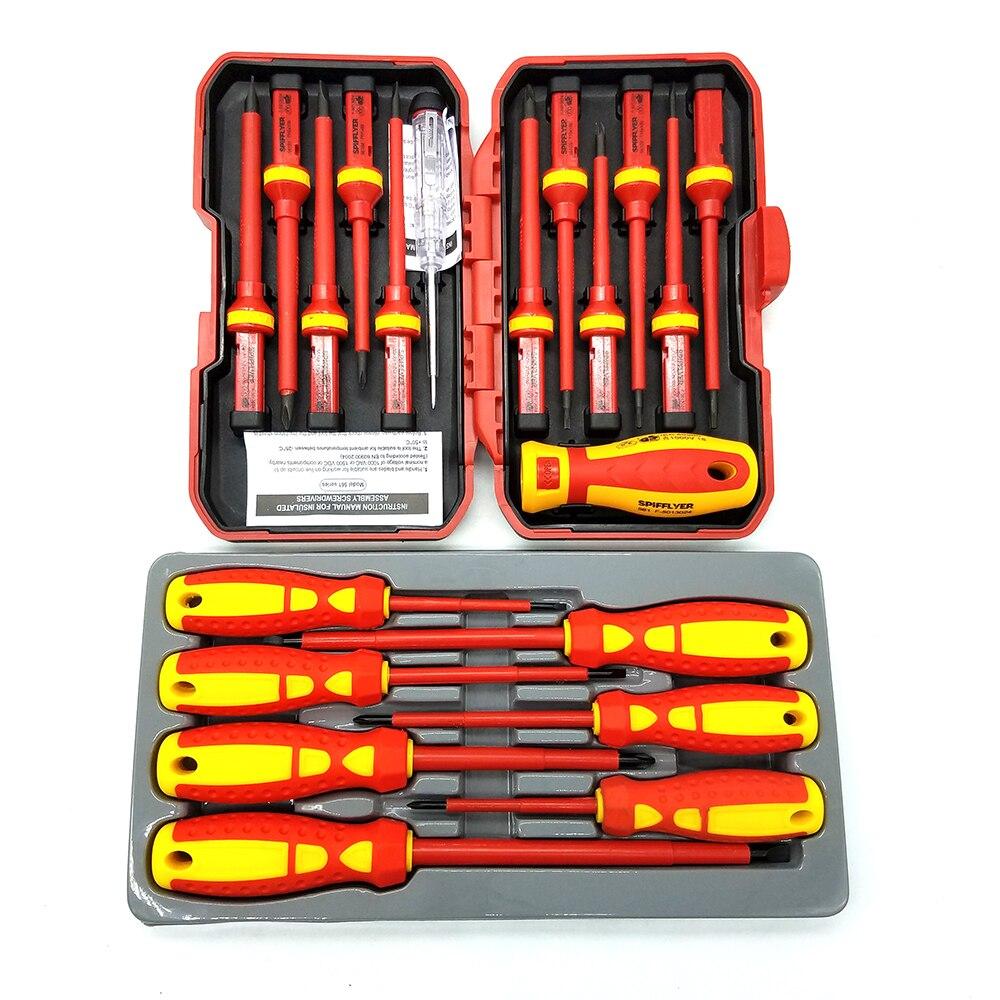 Destornillador SPIFFLYER de 13 piezas VDE, herramienta de seguridad especial aislada y juego de destornilladores con aislamiento de 7 piezas CR-V alto voltaje 1000V duradero