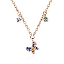 цены Exquisite Zircon Butterfly Pendant Necklace For Women Jewelry Fashion Rose Gold Lady Necklace Silver 925 Accessories Female Gift