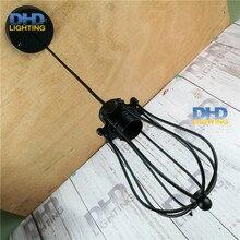 Винтаж железной клетке тень E27 установка эдисон подвесной светильник черный готовой для бара ресторана и кафе