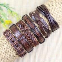 () Fashion Jewelry Wrap Charm Genuine Leather Bracelet Men With Braided Rope Bracelets S41